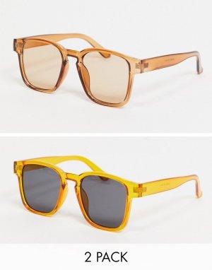 Набор из 2 солнцезащитных очков с квадратными линзами Madein-Многоцветный Madein.