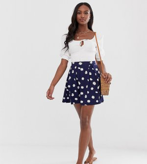 Темно-синяя мини-юбка со складками и цветочным принтом ASOS DESIGN Tall-Мульти Tall