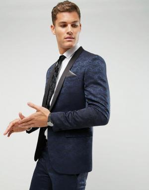 Жаккардовый пиджак-смокинг зауженного кроя Farah Smart. Цвет: темно-синий