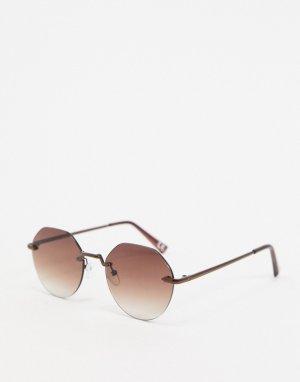 Коричневые солнцезащитные очки без оправы с градиентными стеклами -Коричневый ASOS DESIGN