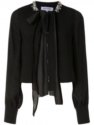 Блузка с кристаллами Dice Kayek. Цвет: черный