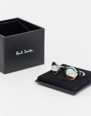 Серебристые круглые запонки с полосками -Серебряный Paul Smith