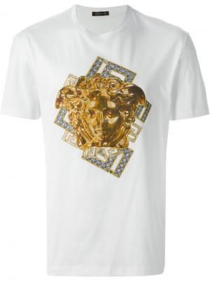 Футболки и жилеты Versace. Цвет: белый