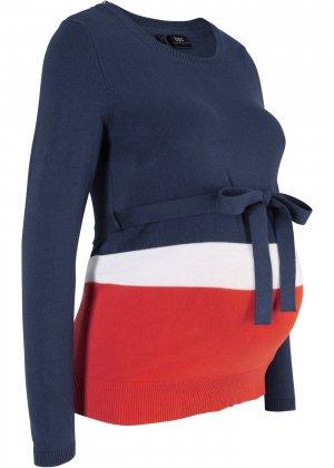 Пуловер с длинным рукавом для беременных bonprix. Цвет: синий