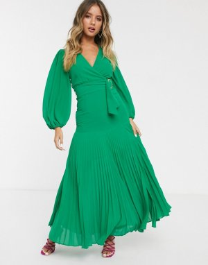 Зеленое платье макси с поясом -Зеленый Bardot