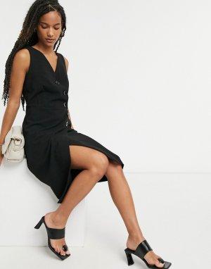 Черное платье-сарафан с запахом Closet-Черный Closet London