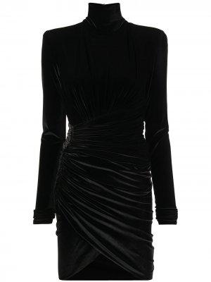 Бархатное платье с высоким воротником Alexandre Vauthier. Цвет: черный