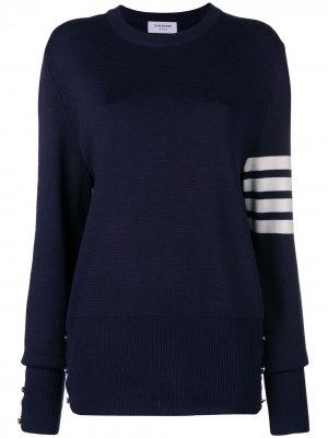 Пуловер Milano с полосками на рукаве Thom Browne. Цвет: синий