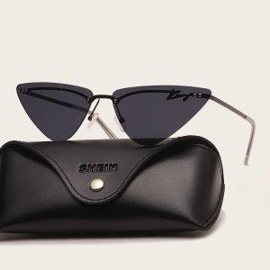 Мужские треугольные солнцезащитные очки без оправы SHEIN. Цвет: чёрный