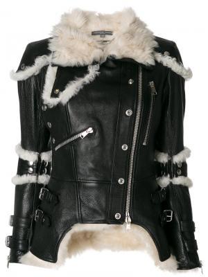 Куртка с отделкой из овечьей шерсти Alexander McQueen. Цвет: чёрный