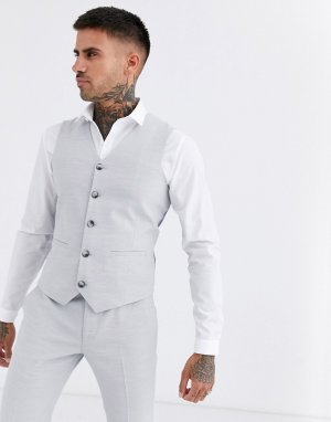 Серый фактурный свадебный жилет супероблегающего кроя ASOS DESIGN