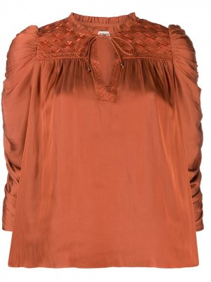 Блузка с пышными рукавами и сборками Ulla Johnson. Цвет: красный