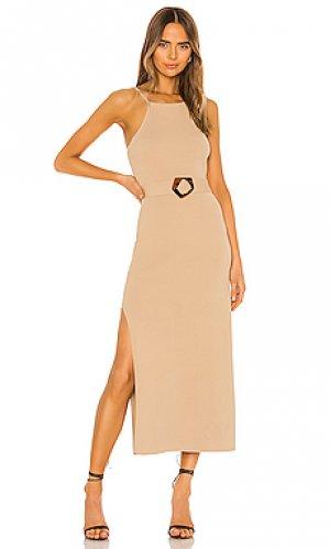 Платье миди lily NICHOLAS. Цвет: серо-коричневый