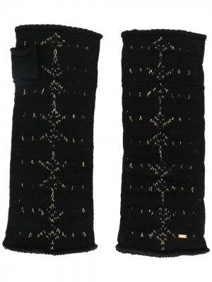 Варежки с узором Saint Laurent. Цвет: черный