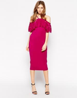 Платье миди с кружевным кейпом Rare. Цвет: розовый