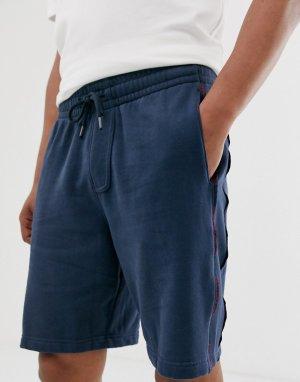 Темно-синие трикотажные шорты с отделкой лентой логотипом по бокам -Темно-синий Abercrombie & Fitch