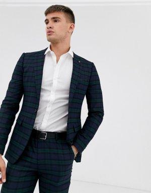 Черный супероблегающий пиджак в клетку -Черный цвет Burton Menswear