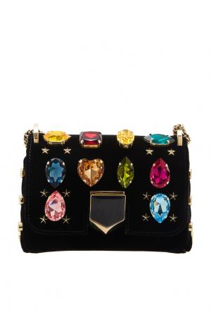 Сумка с разноцветными кристаллами Lockett Petite Jimmy Choo. Цвет: черный