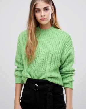 Зеленый вязаный джемпер Bershka. Цвет: зеленый