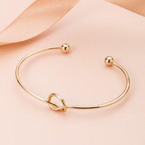 Открытый браслет с узлом для девочек SHEIN. Цвет: золотистый