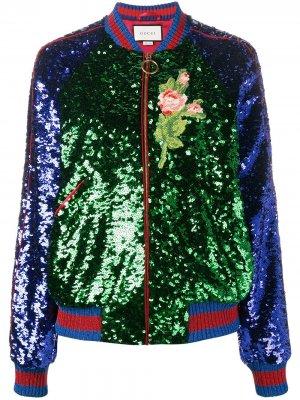 Куртка-бомбер с пайетками Gucci. Цвет: разноцветный