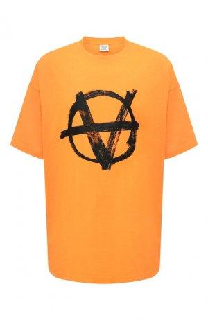 Хлопковая футболка Vetements. Цвет: оранжевый
