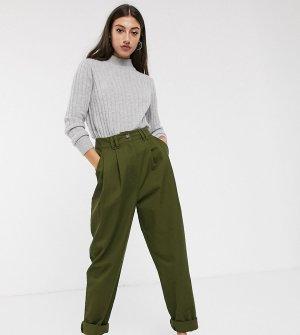 Широкие брюки цвета хаки со складками ASOS DESIGN Tall-Зеленый цвет Tall