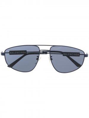Солнцезащитные очки-авиаторы Balenciaga Eyewear. Цвет: синий