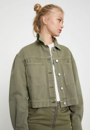 Куртка джинсовая Pull&Bear. Цвет: хаки