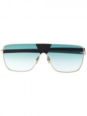 Солнцезащитные очки в массивной оправе Spektre. Цвет: золотистый