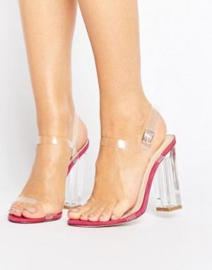Прозрачные сандалии на каблуке с ремешками Alia Public Desire. Цвет: розовый