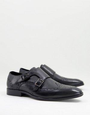 Черные кожаные монки-броги -Черный цвет ASOS DESIGN