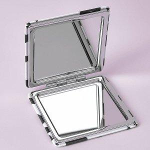 1шт Двустороннее зеркало для макияжа с рисунком коровы SHEIN. Цвет: черный и белый