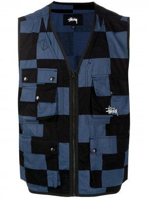 Checked utility vest Stussy. Цвет: синий