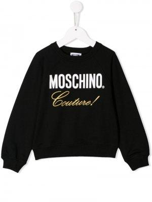 Свитер с принтом Couture Moschino Kids. Цвет: черный