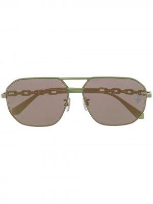 Солнцезащитные очки-авиаторы Off-White. Цвет: зеленый