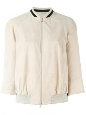 Классическая куртка-бомбер Brunello Cucinelli. Цвет: телесный
