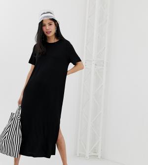 Черное платье-футболка миди с разрезом сбоку Monki. Цвет: мульти