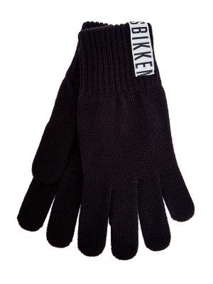 Монохромные перчатки из пряжи эластичной вязки BIKKEMBERGS. Цвет: черный