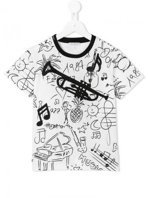 Футболка с принтом Jazz Elements Dolce & Gabbana Kids. Цвет: белый