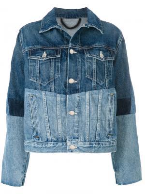Джинсовая куртка с панельным дизайном Helmut Lang. Цвет: синий