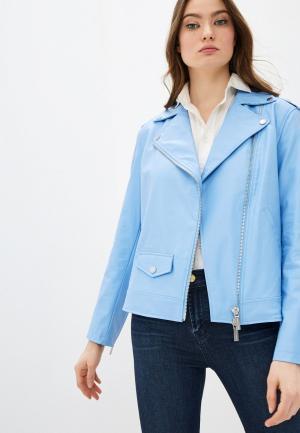Куртка кожаная Armani Exchange. Цвет: голубой