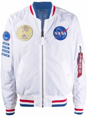 NASA badge bomber jacket Alpha Industries. Цвет: белый