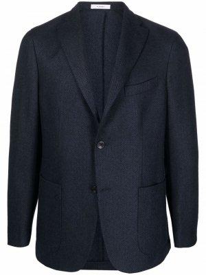 Однобортный пиджак с узором в елочку Boglioli. Цвет: синий