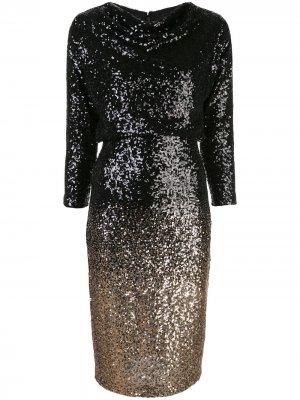 Приталенное платье с пайетками Badgley Mischka