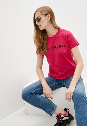 Футболка Karl Lagerfeld. Цвет: розовый