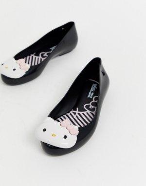Черные балетки с логотипом -Черный Hello Kitty