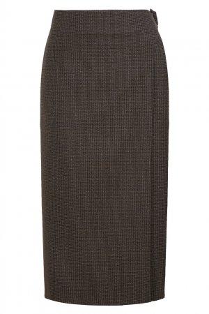 Серая шерстяная юбка Balenciaga. Цвет: серый