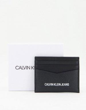 Черный кожаный кошелек для пластиковых карт с логотипом -Черный цвет Calvin Klein Jeans