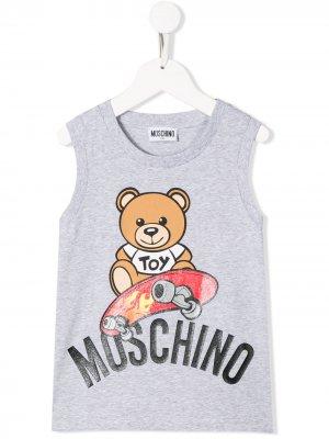 Топ без рукавов Teddy Bear Moschino Kids. Цвет: серый